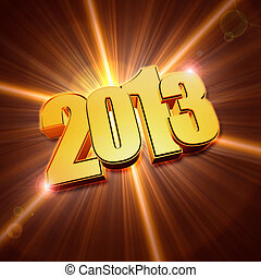 golden year 2013 with shining rays - golden year 2013 with...