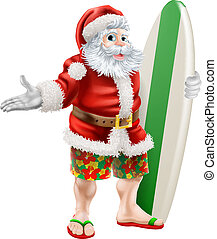 Surf Santa - An illustration of a cartoon Santa in beach...