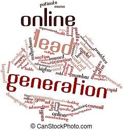 palabra, nube, en línea, plomo, generación