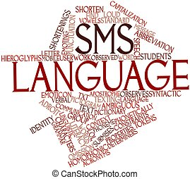 SMS language - Abstract word cloud for SMS language with...