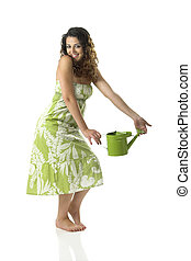 Woman with a watering can