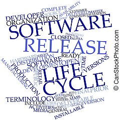 Software release life cycle - Abstract word cloud for...