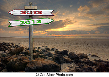 2012 to 2013 - Double directional signs on a beach 2012 to...