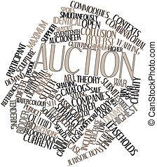 Auction - Abstract word cloud for Auction with related tags...