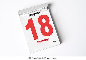18. August 2013 - calendar sheet