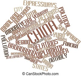 China - Abstract word cloud for China with related tags and...