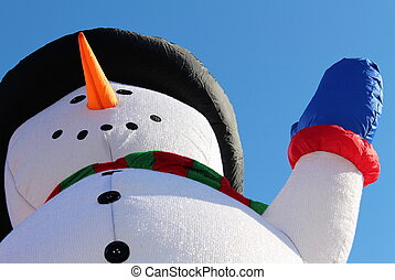 Cheerful snowman parade float - Adorable snowman parade...