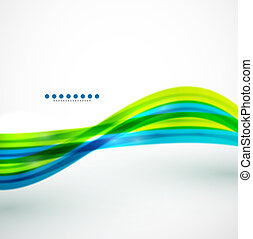 Flowing lines abstract vector background - Blue flowing...