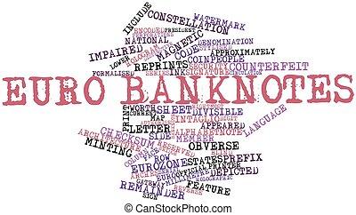 billetes de banco, palabra, nube,  Euro