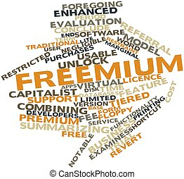 Freemium - Abstract word cloud for Freemium with related...