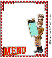 Chef with blank menu - Chef statue with blank menu and copy...