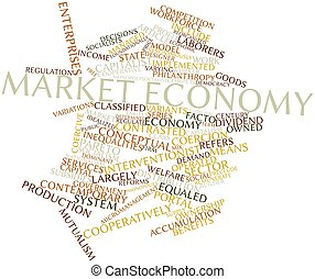 Market economy - Abstract word cloud for Market economy with...