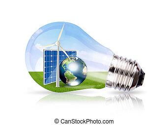 luz, bulbo, vento, turbina, solar, célula, terra,...