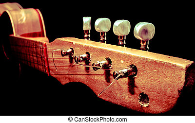 Headstock of wooden guitar - Wooden guitar handle with...