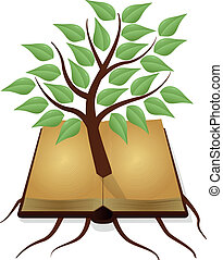 tree book - illustration of ancient book with tree