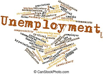 Unemployment - Abstract word cloud for Unemployment with...