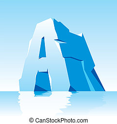 ice letter A - vector image of ice letter A