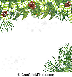 Christmas fir tree with pine cones and candy canes. Vector...