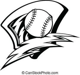 Baseball Softball Lightening Shield - Black and white vector...