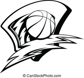 Basketball Lightening Shield - Black and white vector...