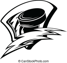 Hockey Lightening Shield - Black and white vector...
