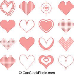 Set of pink hearts - Set of different vectorized pink...