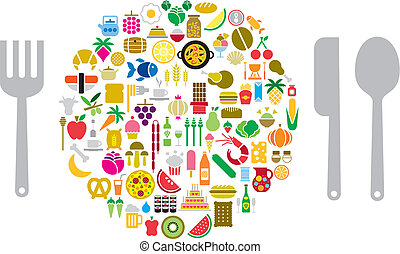 Lets eat - Icons of food and beverage in form of sphere and...