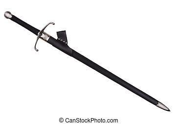 Medieval sword isolated on white background disposed by...