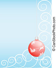 Christmas background - blue Christmas background with red...