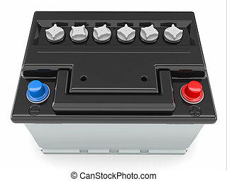 Car battery. 3d - Car battery on white background....