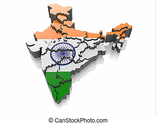 Map of India in Indian flag colors