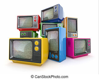 Heap of vintage tv End of television Conceptual image 3d
