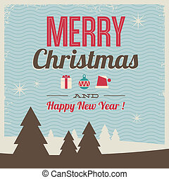 greeting card, merry christmas and happy new year with icons...