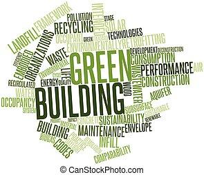 mot, nuage, vert, bâtiment