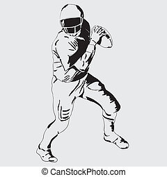 quarterback - American football player with the ball Vector...