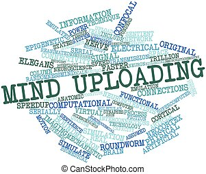 Mind uploading - Abstract word cloud for Mind uploading with...
