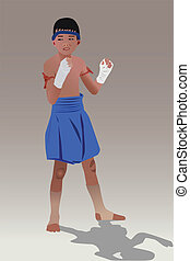 Thai boxing boy - Vector illustration of Muay Thai or Thai...