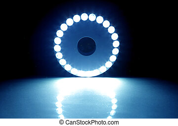 Blue Light Circle on the dark background