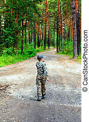 Lost Kid in the Summer Forest Alone
