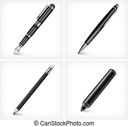 Pen, pencil, highlighter and fountain pen - Black pen,...