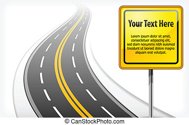 road sign with highway - yellow road sign with text and long...