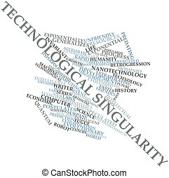 Technological singularity - Abstract word cloud for...