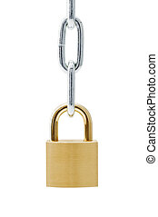 Padlocks and chains on white background