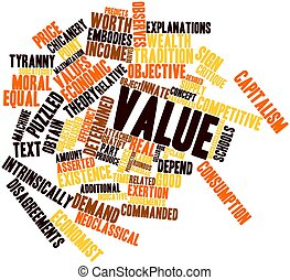Value - Abstract word cloud for Value with related tags and...