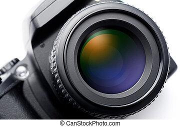 SLR camera lens on white background