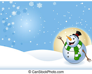 Happy Snowman With Background