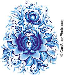 Blue flower in gzhel style
