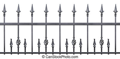 Forged decorative fence isolated horizontal panorama, large...