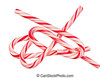 Christmas candy canes isolated on white background