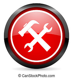 tools round red glossy icon on white background